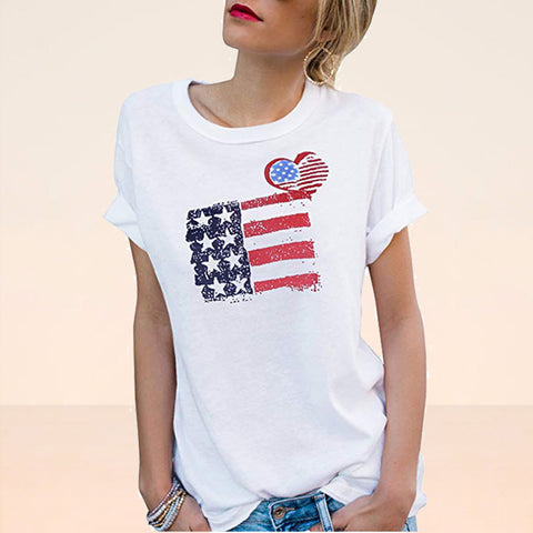 Casual round neck short sleeve flag printed T-shirts