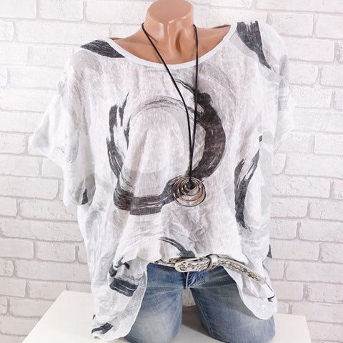 Fashion Round Neck Short Sleeve Printed Shirts