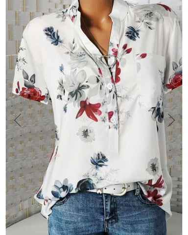 Fashion Print V-neck Short Sleeve Top