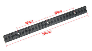 258mm Long Picatinny rail ( Anodized Black Metal )