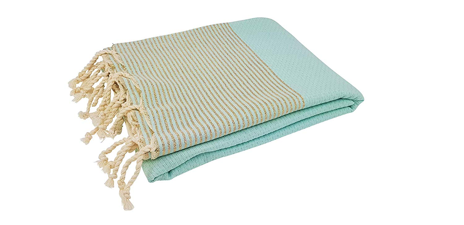 Premium Bath Beach Towel (Lurex Turquoise)