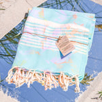 Premium Bath Beach Towel. ( Tie Dye Blue)