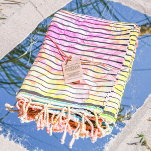 Premium Beach Towel (tie dye yellow multicolor)