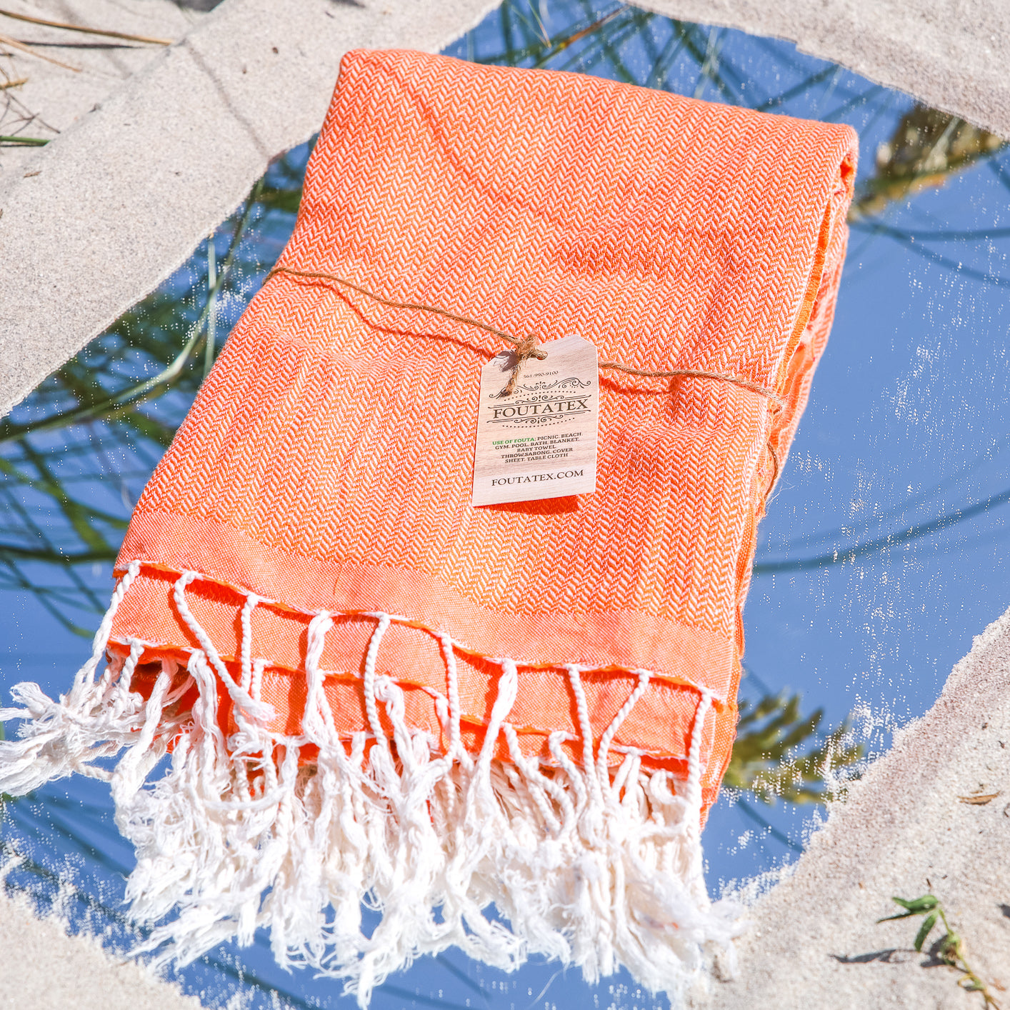 Premium Beach bath Towel  (Chevron Orange)