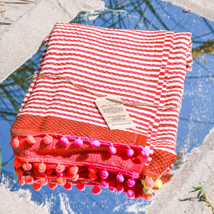 Premium Luxuries Beach Towel (Ponpon Red Stripes)
