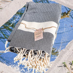 Premium Bath Beach Towel (Grey band)