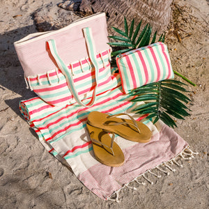 3 Pcs Matching Beach Bag Set (Red Pinky)