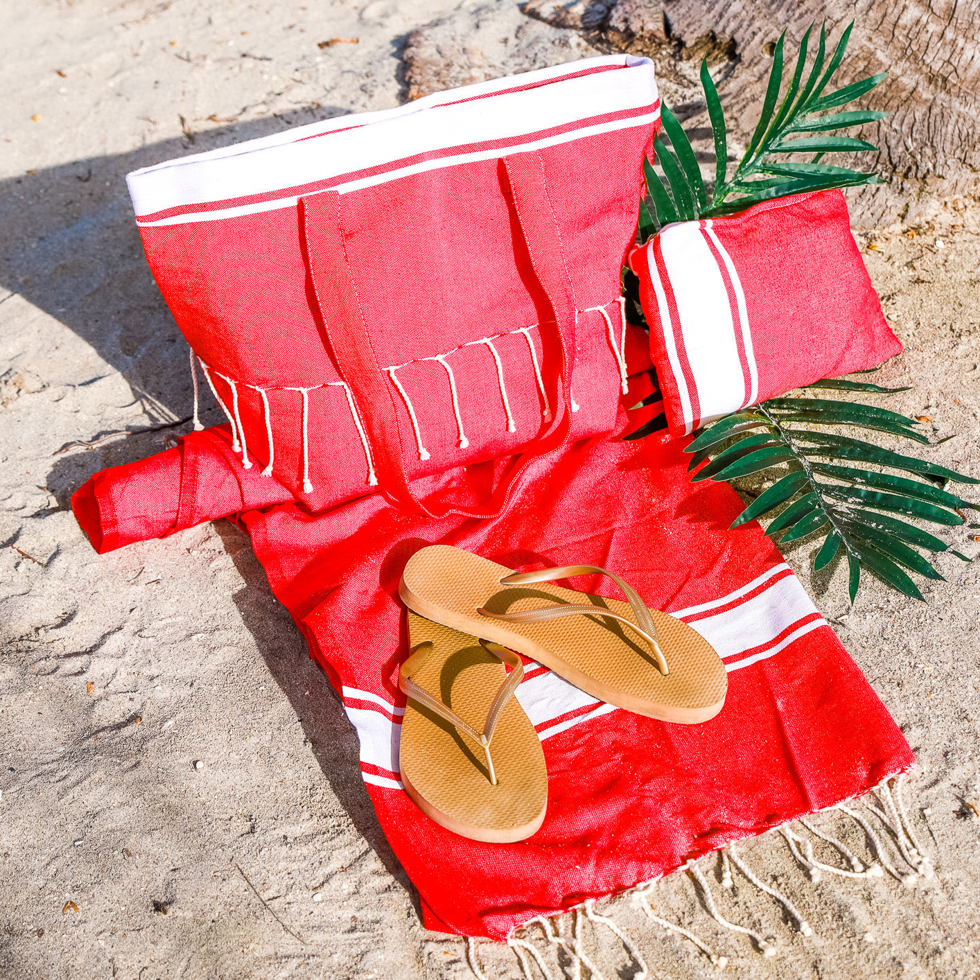 3 Pcs Matching Beach Bag Set (Red Classic)