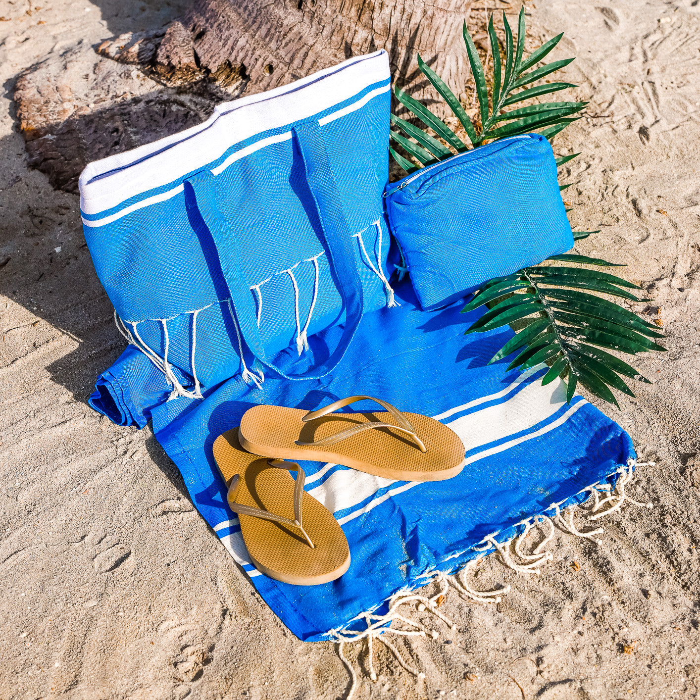 3 Pcs Matching Beach Bag Set (Blue Classic)