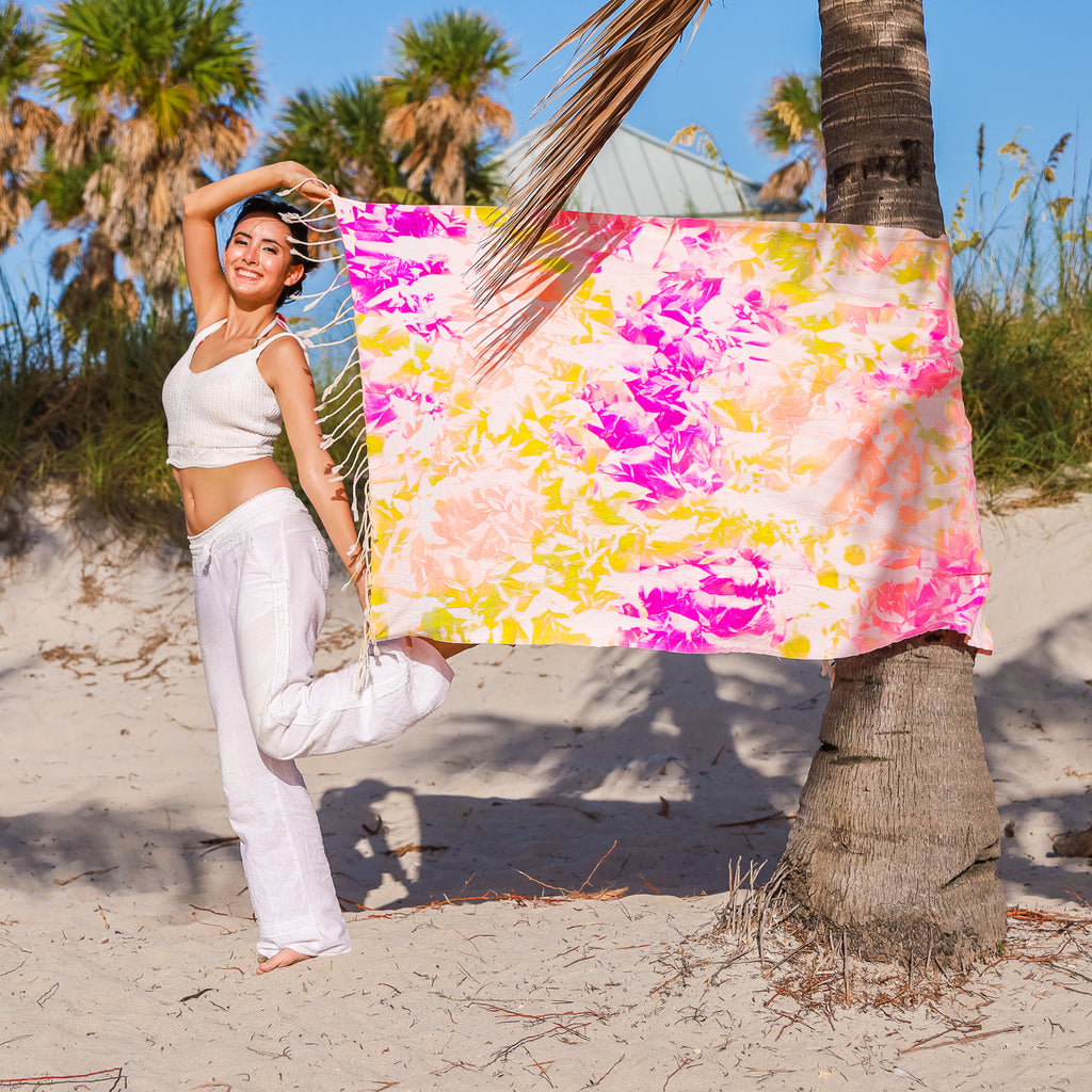 Premium Beach Bath  Towel ( tie dye yellow)
