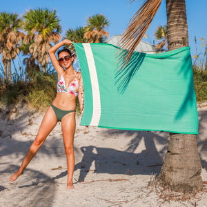 Premium Bath Beach Towel (Green band)