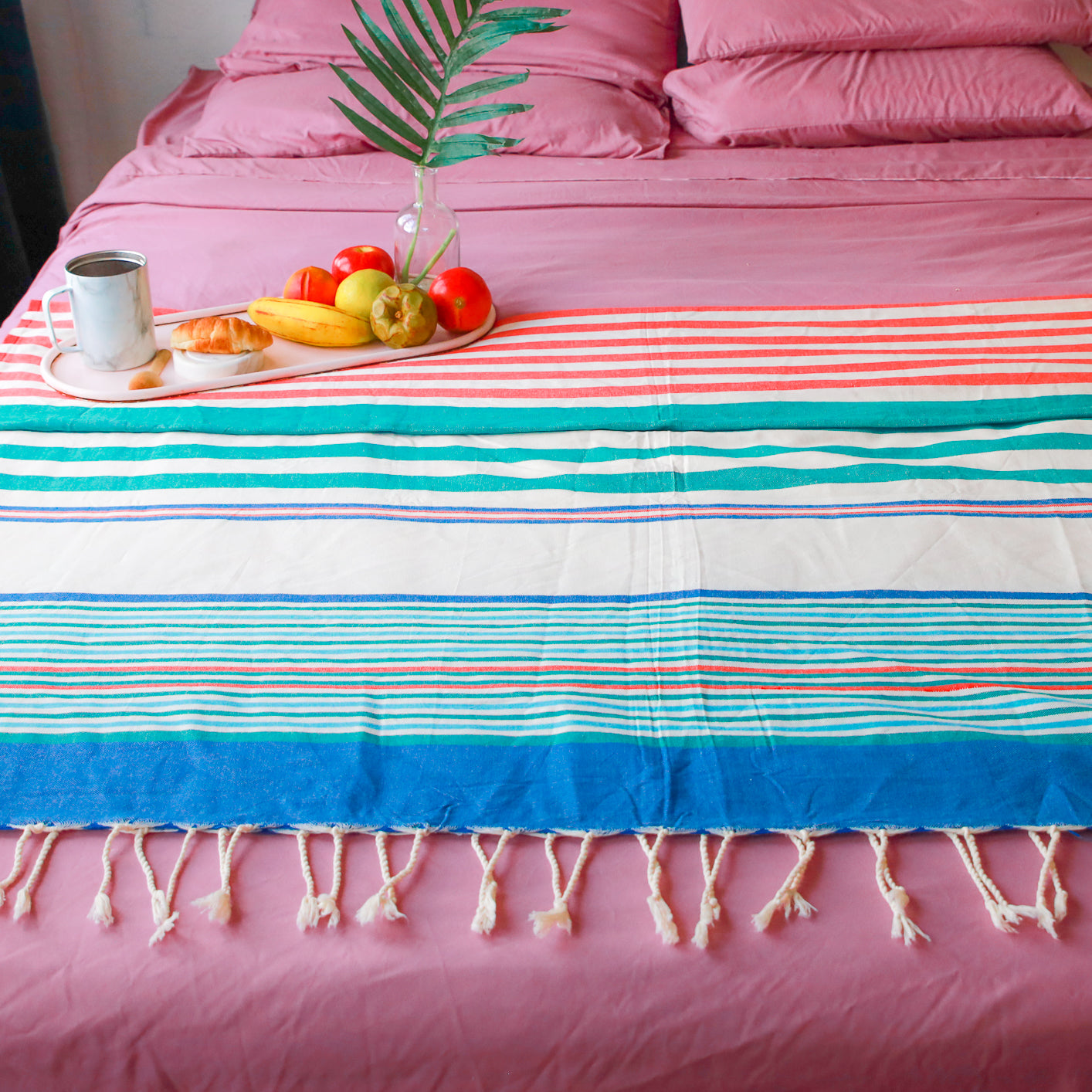 "Beach, Camping, Bed Sheet Blanket (Multicolor - W 56"" x L 96"")"