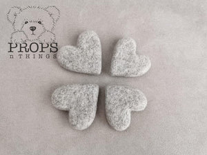Felted Hearts Grey