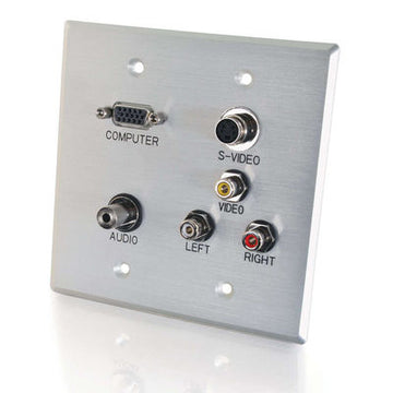 Metallic C2G//Cables to Go 40487 Single Gang HD15 Composite Video Stereo Audio Wall Plate