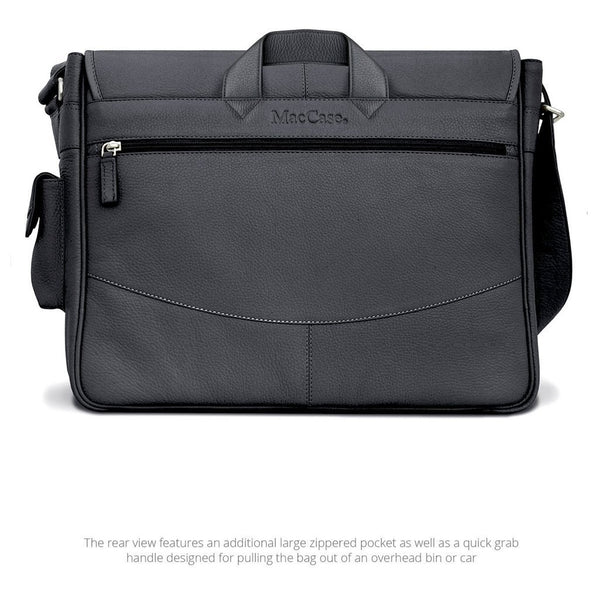 MAC-CASE LMB-BK Premium Leather Messenger Bag (Black)
