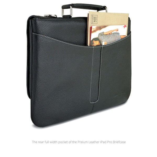 MAC-CASE LPHB-BK Premium Leather iPad Pro Briefcase (Black)
