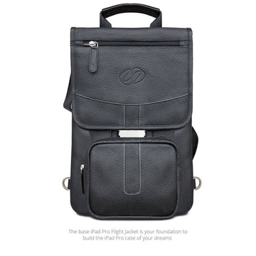 MAC-CASE LPFJ-BK-BP Premium Leather iPad Pro 12.9 Flight Jacket w/Backpack Straps (Black)