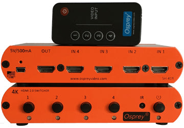 OSPREY BLACK 97-35412 SH-41R 4:1 HDMI 2.0 Switcher - 4K 60fps