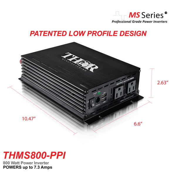 THOR THMS800-PPI 800 Watt Power Inverter with USB 2.1