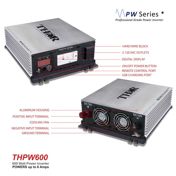 THOR THPW600 600 Watt Pure SINE Wave Inverter 12V with USB 2.1