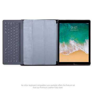 MAC-CASE LK12.9FL-BK Premium Leather iPad Pro 12.9 Keyboard Compatible Folio Case (Black)