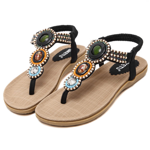 Bohemian Beads Beach Sandals in Two Colors-Diivas