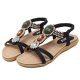 Bohemian Beads Crisscross Strap with Soft Insole Flat Sandals-Diivas
