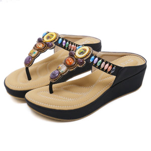 Bohemian Beads & Gems Wedge Comfortable Sole Summer Sandals in Two Colors-Diivas