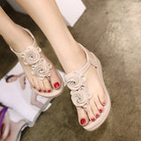 Bohemian Flower Design Classy Wedge Sandals in Two Colors-Diivas