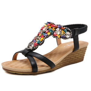 Bohemian Multicolored Beaded Wedge Summer Sandals in Two Colors-Diivas