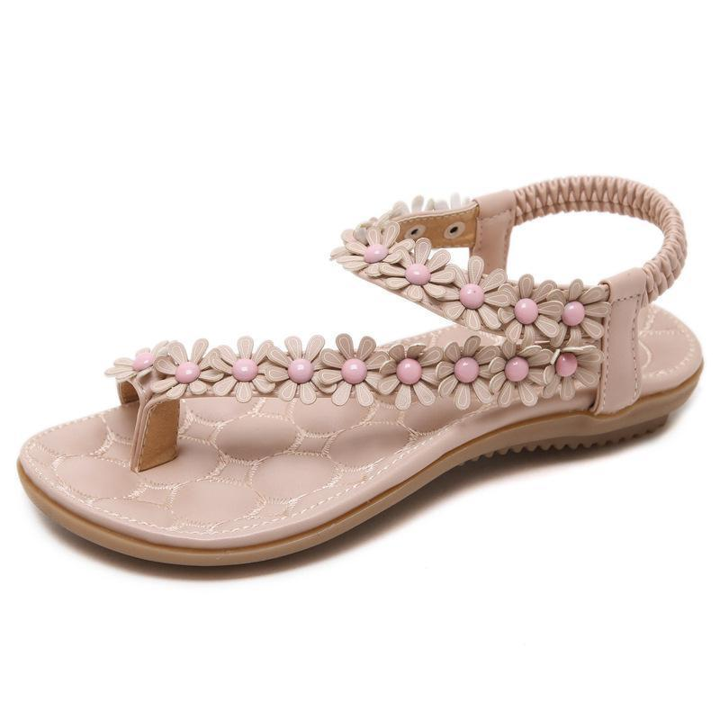 Bohemian Pretty Flowers adorns with Gems in Synthetic Leather Straps and Soft Padded Insole-Diivas