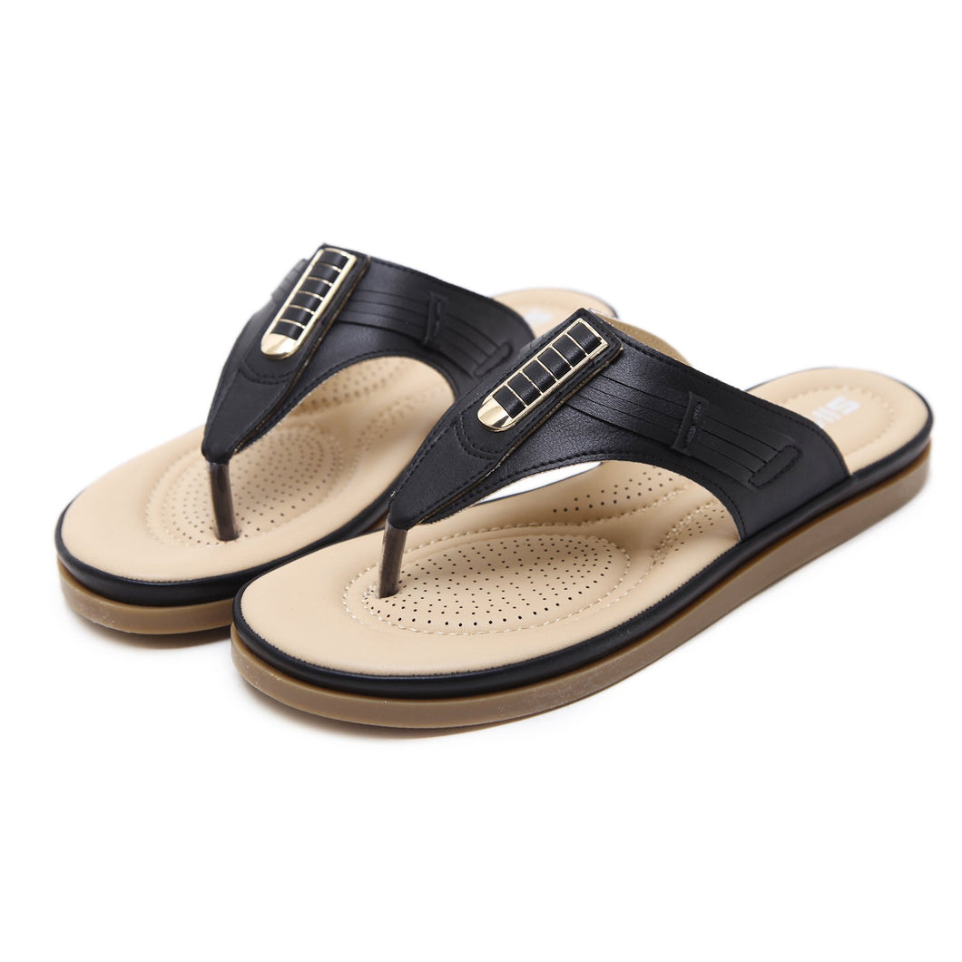 Bohemian Style Synthetic Leather Strap Slip-on Sandals in Two Colors-Diivas