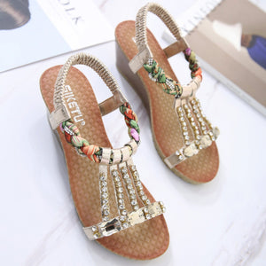 Chic Colorful Braided Straps with Rhinestones Fashionable Wedge Sandals-Diivas