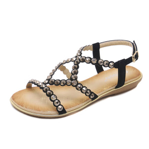 Crisscross Sparkling Gem Flat Fashionable Sandals in Two Colors-Diivas