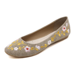 Embroidered Floral Classic Ballerina Shoes with Soft Padded Insole-Diivas