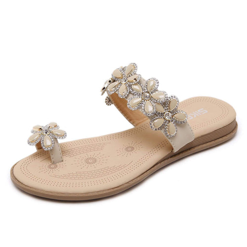 Flowered Rhinestone Toe Ring Femme Flat Sandals in Two Colors-Diivas