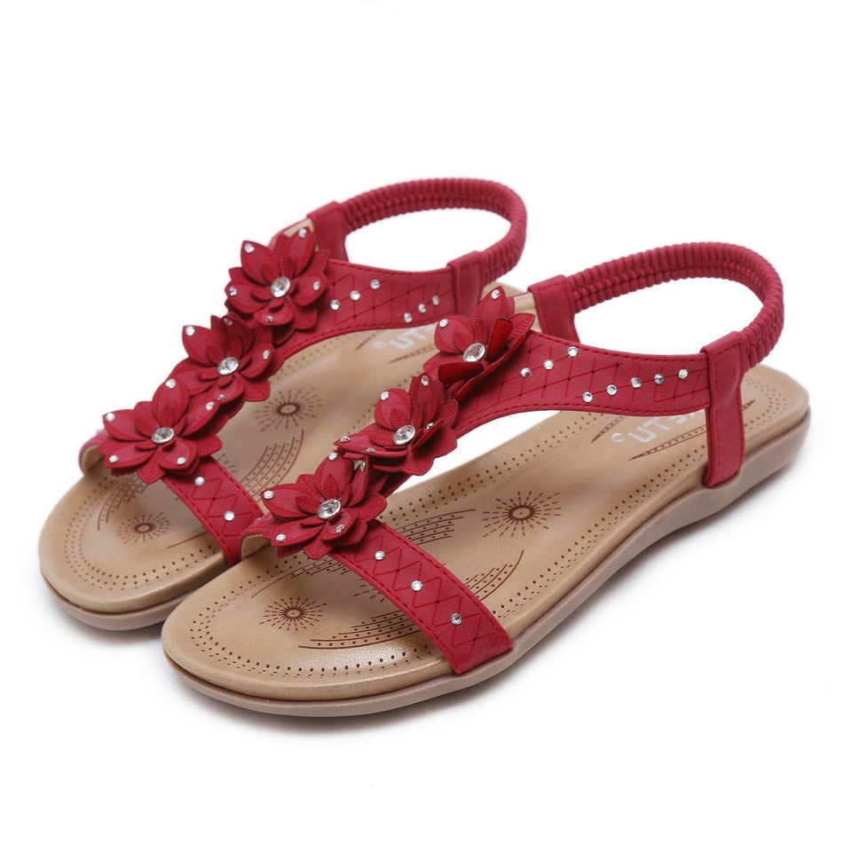 Red Floral Strap Flat Sandals for Women in Three Colors-Diivas