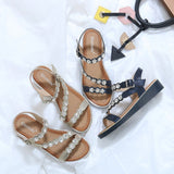Shiny Open Toe Straps Studded with Sparkling Gems with Soft Insole Summer Sandals-Diivas