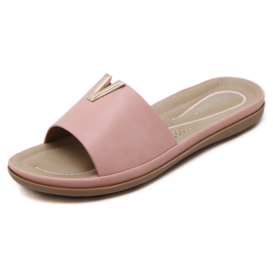 Sophisticated Open Toe Slip-on with Breathable Insole & Synthetic Leather lining and Strap Sandals-Diivas