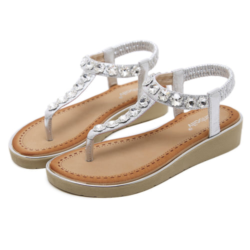 Sparkling Flower Gems on its Strap with Soft Padded Insole Summer Sandals-Diivas