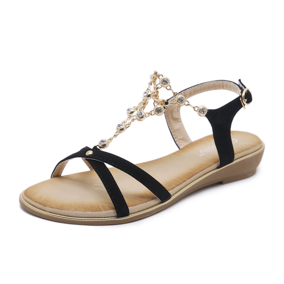 Sparkling Jewels Crossed Strap Semi Wedge Soft Padded Semi-Formal Sandals in Two Colors-Diivas