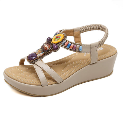 Spring Beads Bohemian Semi-Wedge Fashionable Sandals in Two Colors-Diivas