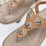 Summer Seashell Style Flats Femme Sandals in Three Colors-Diivas