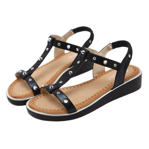 Summer Spike Stud Silver T-strap Medium Wedge Sandals-Diivas