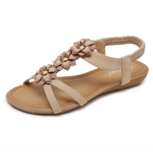 Sweet Bohemian Flower with Rhinestones Semi Wedge Crossed Strap Comfortable Sandals-Diivas