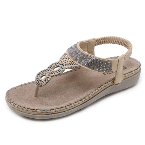 Tiny Crystal Silver Beads T-strap Flat Sandals in Two Colors-Diivas