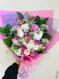 one dozen roses mix bouquet