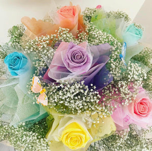Assorted Colors of Glitter Hong Kong Roses