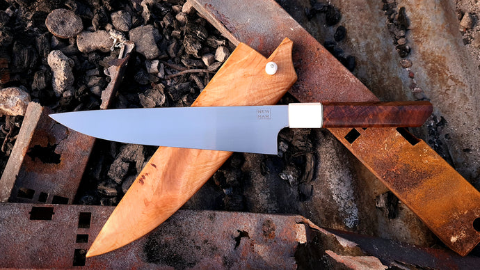 215mm Gyuto in RWL-34 with Elforyn and Gidgee