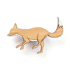 Wooden animal brooches eco jewellery